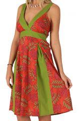 Robe mi-longue d'été Originale et Colorée Suzy Verte et Rouge 284105