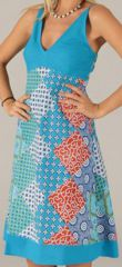 Robe mi-longue d'été Originale et Imprimée Armelle Bleue 276737