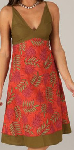 Robe mi-longue d'été Originale et Imprimée Pauline Rouge 276739
