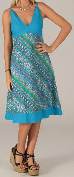 Robe mi-longue d'été Originale et Imprimée Sophia Bleue 276744