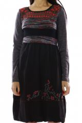 Robe mi-longue d'hiver originale avec de la laine Caroline Vert 302717