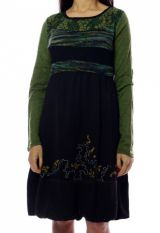 Robe mi-longue d'hiver originale avec de la laine Caroline Vert 302722