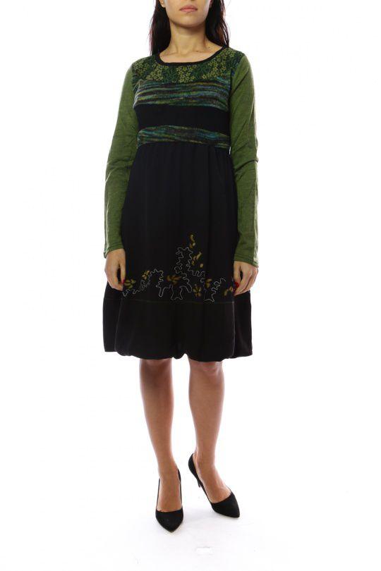 Robe mi-longue d'hiver originale avec de la laine Caroline Vert 302723