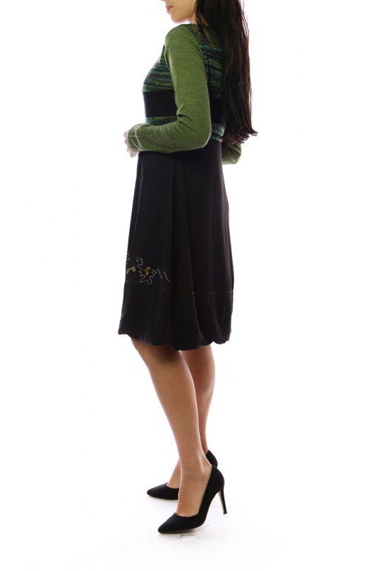 Robe mi-longue d'hiver originale avec de la laine Caroline Vert 302724