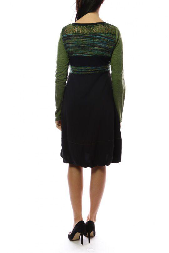Robe mi-longue d'hiver originale avec de la laine Caroline Vert 302725