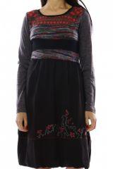 Robe mi-longue d'hiver originale avec de la laine rouge Caroline 302717