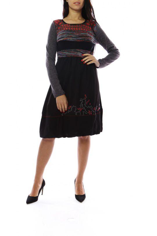 Robe mi-longue d'hiver originale avec de la laine rouge Caroline 302719