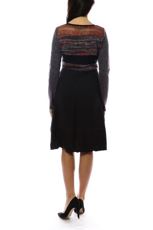 Robe mi-longue d'hiver originale avec de la laine rouge Caroline 302721