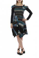 Robe mi-longue d'hiver originale en laine noire et bleue 302581