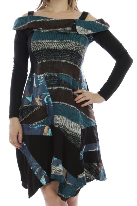Robe mi-longue d hiver originale en laine noire et bleue 302582. Loading  zoom a4f3e1d59de