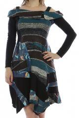 Robe mi-longue d'hiver originale en laine noire et bleue 302582