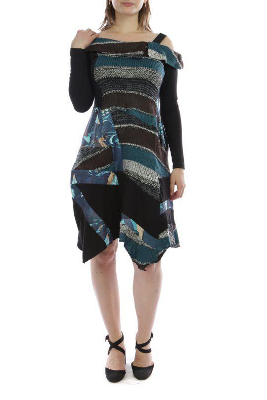 Robe mi-longue d'hiver originale en laine noire et bleue 302583