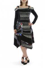 Robe mi-longue d'hiver originale en laine noire et grise 302591