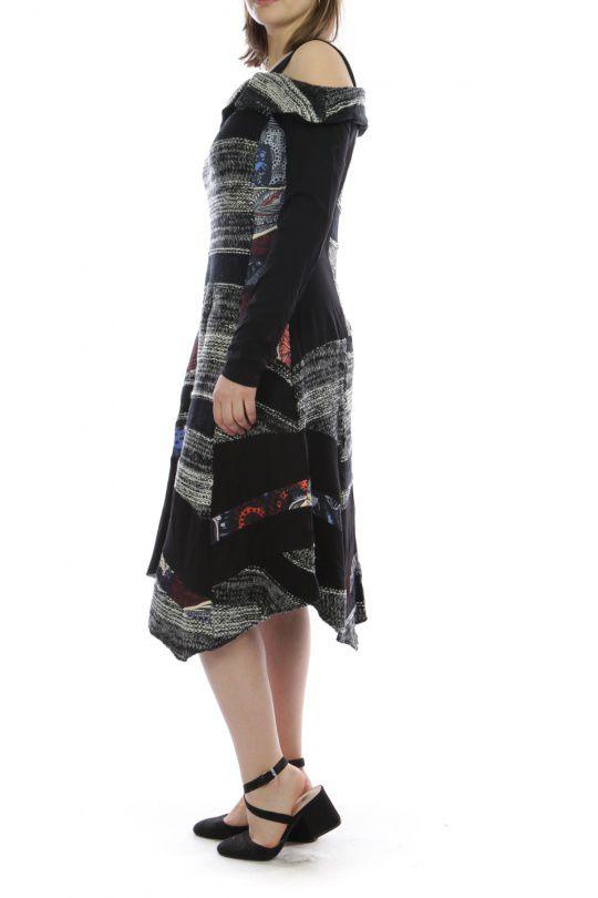 Robe mi-longue d'hiver originale en laine noire et grise 302592