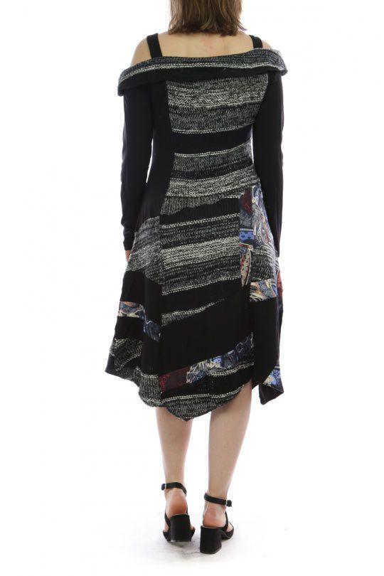 Robe mi-longue d'hiver originale en laine noire et grise 302593
