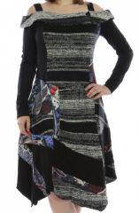Robe mi-longue d'hiver originale en laine noire et grise 302594