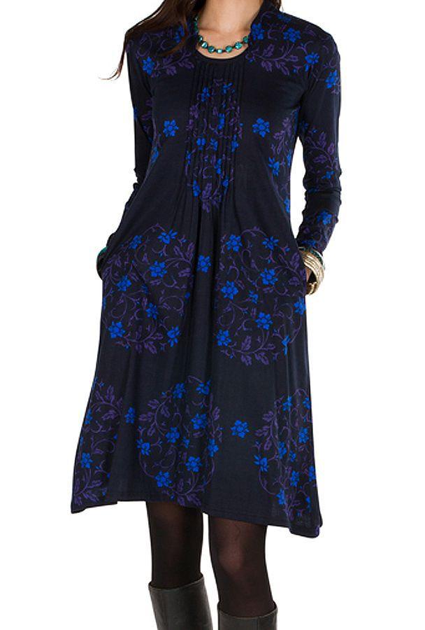Robe mi-longue droite à col style blouse et manches longues Bleue Stabila 301329