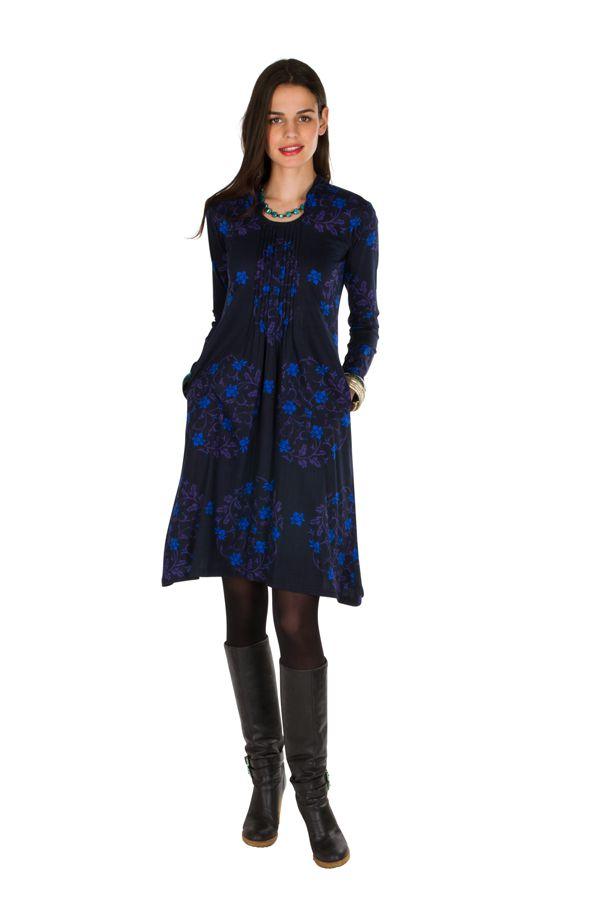 Robe mi-longue droite à col style blouse et manches longues Bleue Stabila 301330