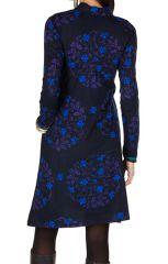 Robe mi-longue droite à col style blouse et manches longues Bleue Stabila 301331