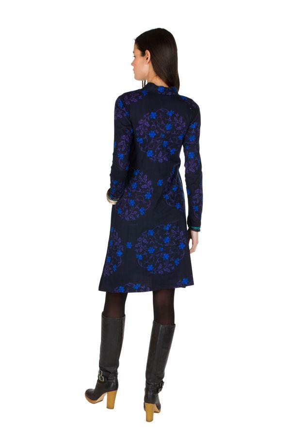 Robe mi-longue droite à col style blouse et manches longues Bleue Stabila 301332