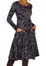 Robe mi-longue élégante à manches longues et imprimés Laupa 301888