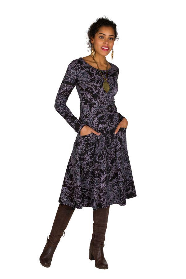 Robe mi-longue élégante à manches longues et imprimés Laupa 301889
