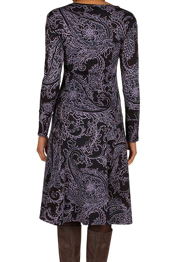 Robe mi-longue élégante à manches longues et imprimés Laupa 301890