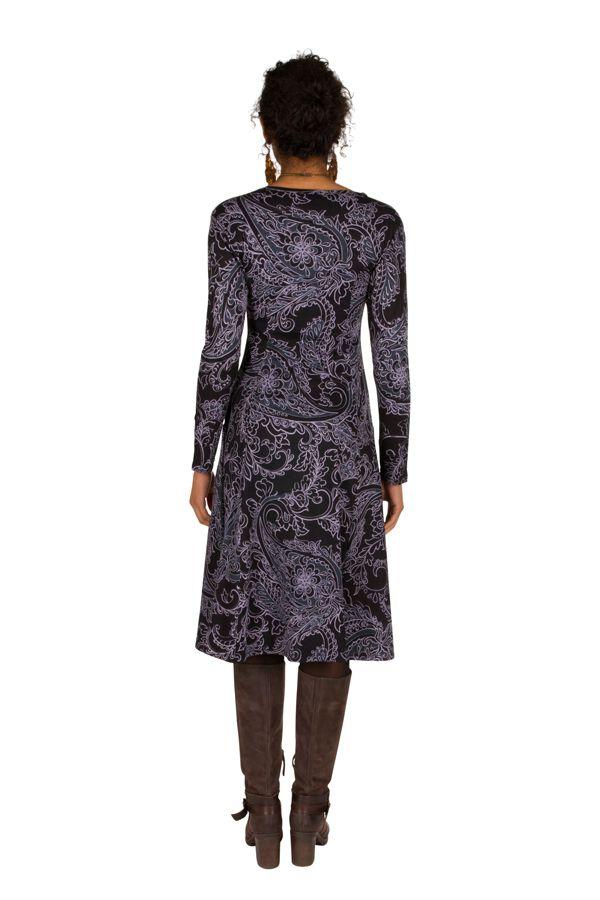 Robe mi-longue élégante à manches longues et imprimés Laupa 301891