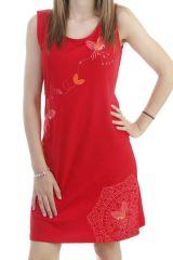 Robe mi-longue en coton avec imprimé floral sans manche rouge Sady 296573