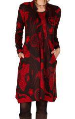 Robe mi-longue en coton col mao et imprimé fantaisie Akila 301353