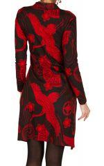 Robe mi-longue en coton col mao et imprimé fantaisie Akila 301359