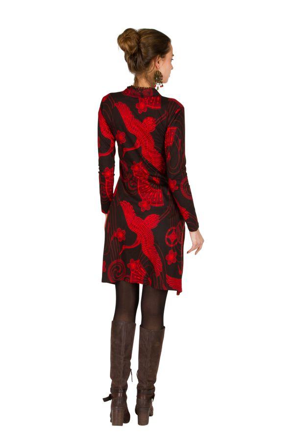 Robe mi-longue en coton col mao et imprimé fantaisie Akila 301360