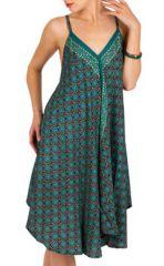 Robe Mi-Longue Ethnique à Imprimés Originaux Bleue Manea 292111