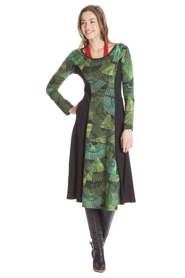 Robe mi-longue ethnique aux imprimés tendance Amarande 285362