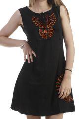 Robe mi-longue ethnique brodée à col rond noire Dalila 296579