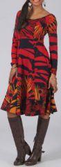 Robe mi-longue Ethnique et Colorée Lexya Rouge et Noire 274981