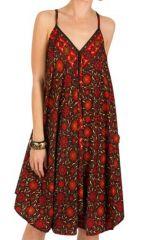 Robe Mi-Longue Ethnique et Imprimée Rouge Hira 292107
