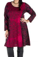 Robe mi-longue évasée avec imprimée panneaux colorée et rond Shamar 301605