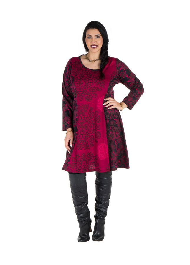 Robe mi-longue évasée avec imprimée panneaux colorée et rond Shamar 301606