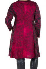 Robe mi-longue évasée avec imprimée panneaux colorée et rond Shamar 301608