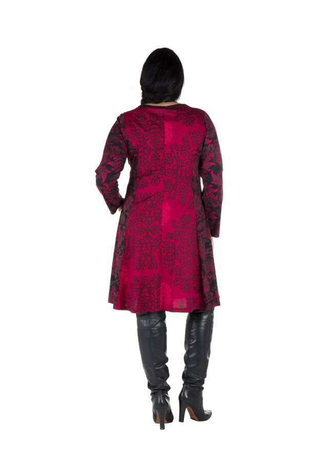 Robe mi-longue évasée avec imprimée panneaux colorée et rond Shamar 301610