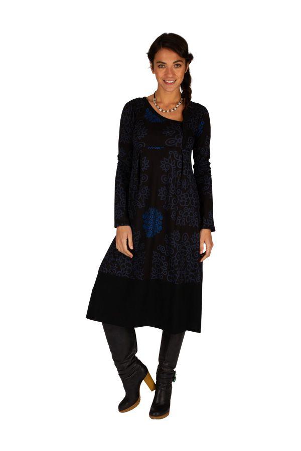 Robe mi-longue façon portefeuille et col asymétrique Beyla 313218