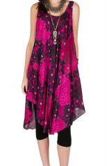 Robe mi-longue féminine fuchsia avec imprimés originaux Cassy 296141