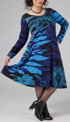 Robe mi-longue Femme ronde Ethnique et Colorée Kaitlyn Bleue 274909