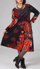 Robe mi-longue Femme ronde Ethnique et Colorée Kaitlyn Noire et Rouge 274917
