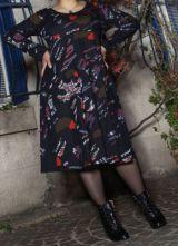 Robe mi-longue Femme ronde Ethnique et Colorée Kaitlyn Noire 274911
