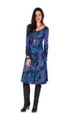 Robe mi-longue Flare  bleutée avec des imprimés originaux Perinne 301247