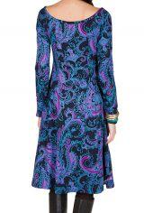Robe mi-longue Flare  bleutée avec des imprimés originaux Perinne 301248