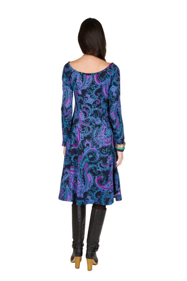 Robe mi-longue Flare  bleutée avec des imprimés originaux Perinne 301249