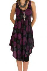 Robe mi-longue fluide avec imprimés vintage violet Adélie 296320